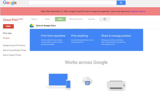 Google即将停用Cloud Print服务