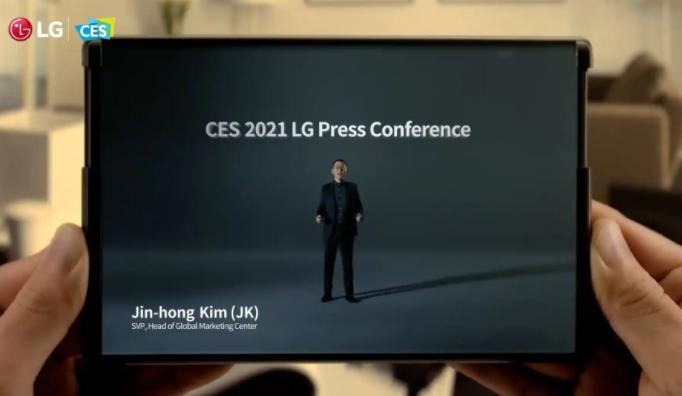 LG在CES 2021上展示了其首款可卷曲手机