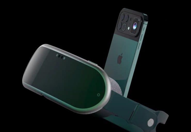 """这款"""" iPhone 13 VR""""概念车展示了苹果的轻便AR耳机和带有四摄像头,后备副显示屏的旗舰手机"""