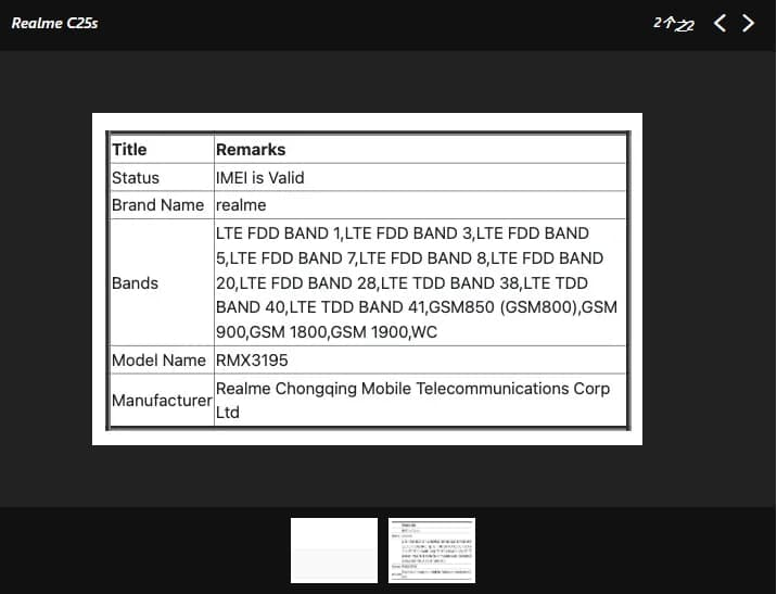 Realme C25s(RMX3195)Moniker获得NBTC认证,印度有望在IMEI数据库中出现后不久推出