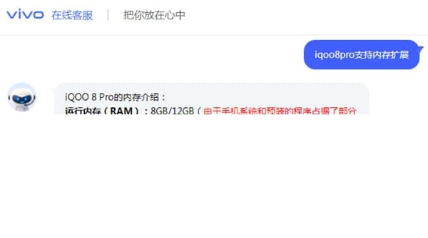 iqoo8pro支持内存扩展吗